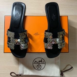 Hermes Black Leather Oran Embellished Flat Sandals